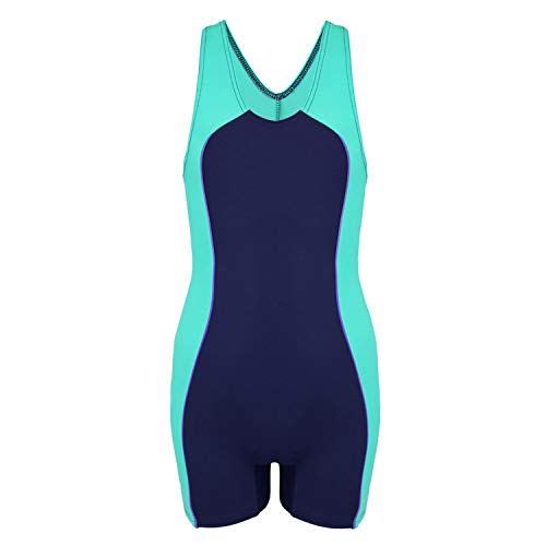Aquarti Mädchen Badeanzug mit Bein und Schwimmerrücken, Farbe: Dunkelblau/Grün, Größe: 134