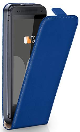 moex® Flip Case mit Magnetverschluss [Rundum-Schutz] passend für HTC One M7   360° Handycover aus feinem Premium Kunst-Leder, Dunkel-Blau Flip Leder Hard Case
