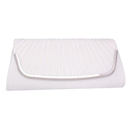 Adoptfade Abendtasche Damen Clutch Tasche Falten Mit Metall verbrämt, Grau Weiß