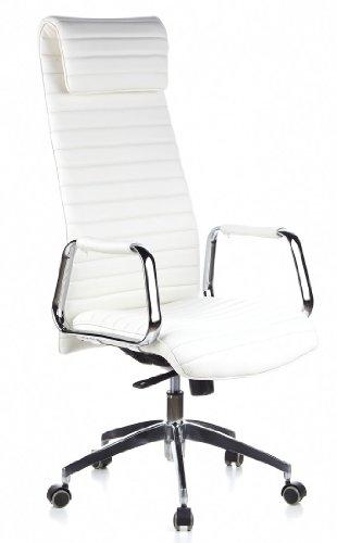 hjh OFFICE 600902 chaise de bureau, fauteuil de bureau à roulettes ASPERA 20 ivoire en cuir, siège pivotant haut de gamme avec accoudoirs, dossier extra haut inclinable, design élégant et moderne, piètement robuste