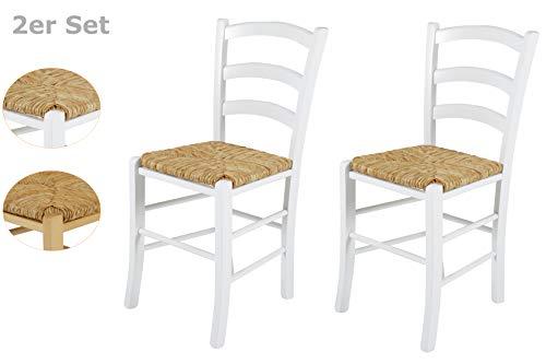 2er Set Holzstuhl Capri II, Gestell Buche massiv Weiß, Sitzfläche Binsengeflecht, 43x47x85 cm -