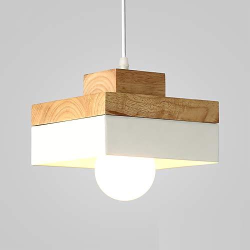 LED Pendellampe Modern Wood Pendant Light Northern Europe Simplicity Shade Living Room Dining Room Cafe Lighting 220-240V (Weiß)