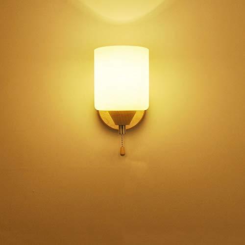 ZSAIMD Lampada da parete a LED in stile nordico semplice Lampada da parete a parete in camera da letto a LED Lampada da soggiorno a parete in IKEA Lampada a parete in legno massiccio Lampada da tavolo