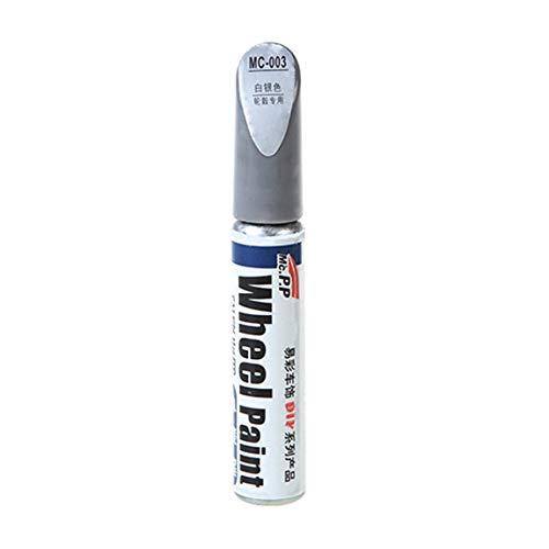 Penna per auto in lega di alluminio per ritocco per riparazione graffi per auto Cerchi in lega per auto nera per ritocco per ritocco auto (colore: argento e bianco)