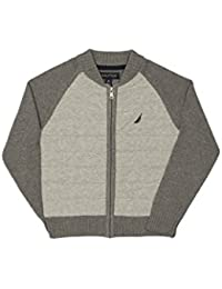 Nautica Boys' Quilted Full Zip Baseball Style Sweater