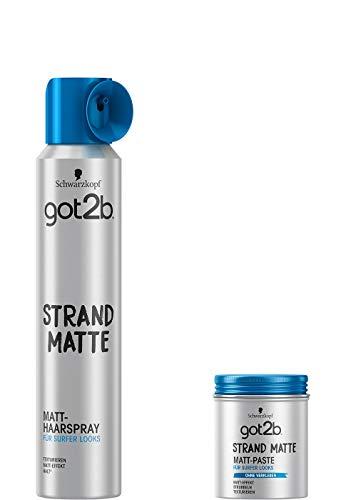 Schwarzkopf got2b Strand-Matte Set, Matt-Paste Surfer Look (4 x 100 ml) + Haarspray (1 x 200 ml)