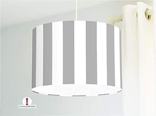 Lampe für Küche und Schlafzimmer mit breiten Streifen in Hellgrau aus Baumwollstoff - alle Farben möglich -