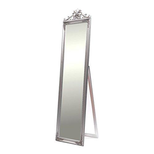 DESIGN DELIGHTS PRACHTVOLLER STANDSPIEGEL Olivia | 180 cm, antik Silber, mit Krone | Barock Rahmen