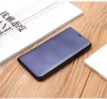 Meimeiwu Clear View Flip Custodia Cover con Funzione Kickstand [Sleep/Wake Funzione] Ultra-Sottile Specchio Traslucido Smart Cover per iPhone 8 - Argento Blu