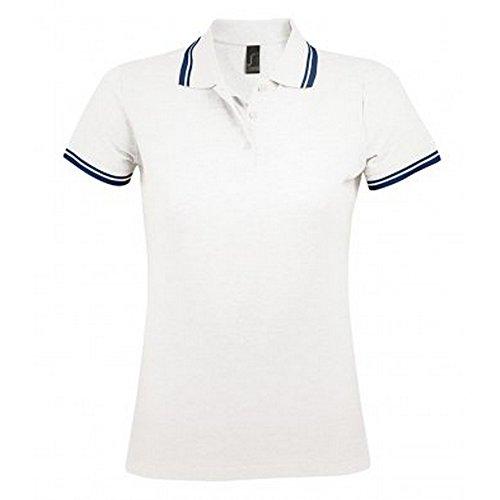 SOLS Damen Pasadena Pique Polo-Shirt, kurzärmlig Weiß/Marineblau