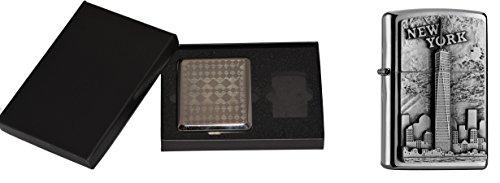 Zippo 15468 Feuerzeug New York plus Zigaretten Etui Gift Set, Collection 2016, Artikel Nummer 2.004.740.3, chrom ausgebürstet (New Zippo York Feuerzeug)