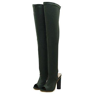 RTRY Scarpe Da Donna In Pelle Nubuck Autunno Inverno Comfort Novità Moda Stivali Stivali Chunky Heel Peep Toe Thigh-High Scarponi Per Office &Amp; Carriera US9 / EU40 / UK7 / CN41