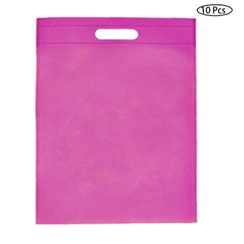10pcs Wiederverwendbare Canvas-Baumwollgewebe-Einkaufstasche Frauen Schulter Tote Non-Woven-Umweltfallmultifunktions Organizer (Zufällige Farbe) -