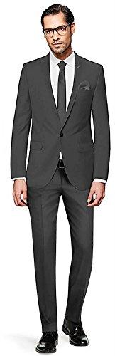 PABLO CASSINI Herren Anzug Fine Art - 3 teilig - Grau Smoking Hochzeit Ein-Knopf Business PCS_2 (50) (Seide 2-knopf-sakko,)