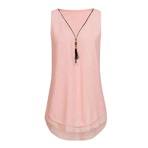 owers Chiffon Sleeveless Tank V-Neck Zipper Hem Scoop Tshirts Tops(AA-Rosa, EU:42/CN:L) ()
