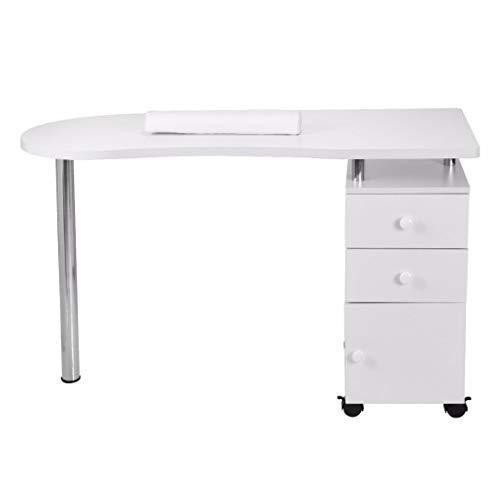 Yulie Table de Manucure et Pédicure Professionnelle avec 3 Tiroirs Table à Ongles avec...