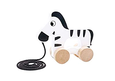 Tooky Toy Pull along Zebra. Wooden toy suitable from 18 months