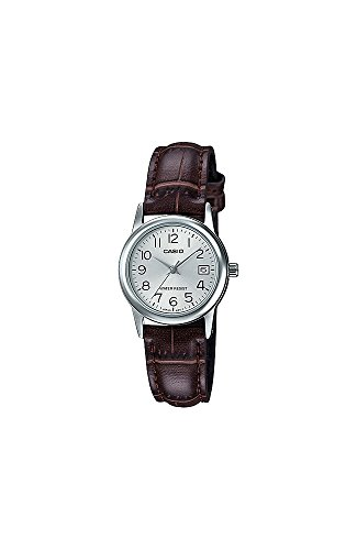 Casio #LTP-V002L-7B2 - Reloj analógico de pulsera para mujer, correa de piel estándar, números plateados