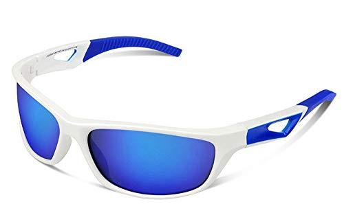 JFSKD Sportreitspiegel für Damen und Herren, Sonnenbrillen, Windschutz für Outdoor-Sportarten und insektensichere Brillen,White/Blue