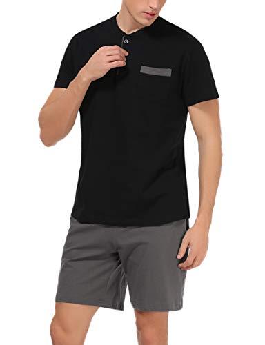 Hawiton Herren Schlafanzug kurz Sommer kurzarm Baumwolle Nachtwäsche aus weicher Baumwolle Herren Pyjamas für Herren Nachtwäsche Loungewear Schwarz XXL -