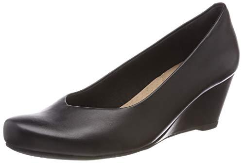 Clarks Damen Flores Tulip Geschlossene Sandalen, Schwarz (Black Leather), 39.5 EU