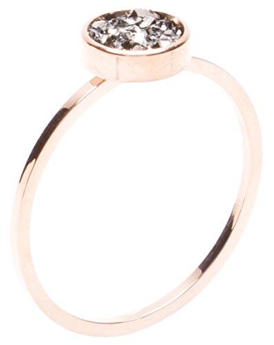 amen Druzy Ring in Rosegold | Minimalist Ring aus Titan mit Rosegold Überzogen ()