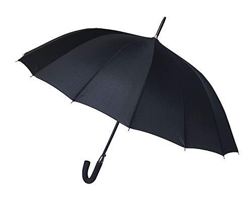 Paraguas clásico Negro de 16 Varillas Antiviento Gran tamaño XXL 120 cm Apertura automática Puño de Espuma