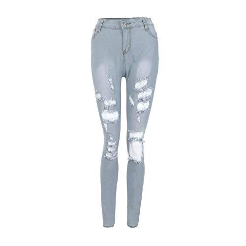 Cloom jeans donna strappati, donne primavera estate autunno jeans grandi del ginocchio donne slim casual skinny mid jeans a vita denim pantaloni lunghi jeans pantaloni sottili (blu, s)