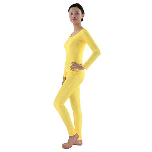 Fenteer Herren Damen Ganzkörperanzug Lange Ärmel Bodysuit Catsuit Dancewear Atmungsaktive Second Skin Suit Zentai Catsuit Kostüm - Gelb, - Herren Gelb Second Skin Kostüm Für Erwachsene