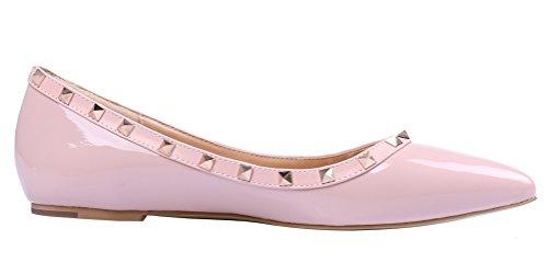 MONICOCO Übergröße Flache Damenschuhe Spitze Zehen Lackleder Geschlossene Ballerinas mit Nieten Pink
