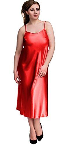 Nine X- S-6XL Nuisette, Chemise de nuit longue, 5 couleurs Rouge