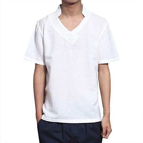 Adidas Knit Fleece Pant (Yazidan Herren Sommer T-Shirt Stehkragen Slim Fit Casual Baumwolle-Anteil | Cooles weißes schwarzes Männer Kurzarm-T-Shirt Hoodie-Sweatshirt)