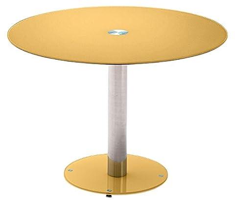 Robas Lund Tisch Glastisch Küchentisch Falko curry rund verchromt 100x 77x 100 cm