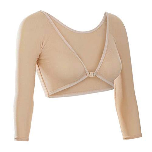 Lazzboy mesh crop tops donna trasparente trasparente reversibile taglie comode taglia 40-44 sexy blouse(beige,44)