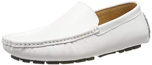 Schnalle-mokassin (Jamron Herren Kunstleder Stilvoll Schnalle Mokassin Loafers Penny Loafers Weiß SN9100 EU44)