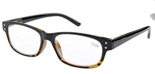 Eyekepper Spring Hinges Vintage Reading Glasses Men Readers Black-Yellow Torotoise Frame +0.75