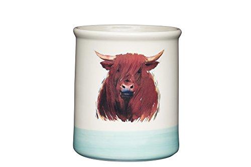 Kitchen Craft Apple Farm HandgefertigterHamish Highland CowKeramik-Utensilienhalter, Creme/Salbeigrün, 12.5 x 12.5 x 14.6 cm