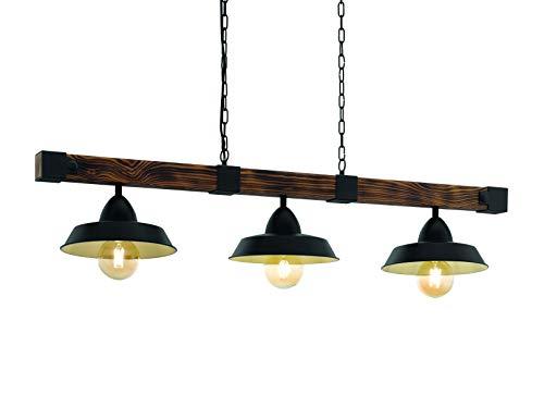 Serie Schwarz Holz (EGLO OLDBURY Hängeleuchte Stahl 60 W, schwarz, braun rustikal)