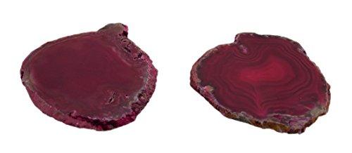 Stein Untersetzer vil93d Pink poliert brasilianischem Achat Slice natur Edge Stein Untersetzer 11,4x 0,6x 8,9cm Pink