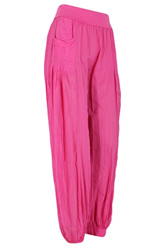 Moda Italy Aladinhose Haremhose Sommerhose Pluderhose Stoffhose Crash Optik Bequemer Schnitt Pink