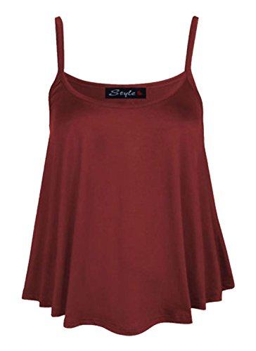 Da donna tinta unita a punta Swing gilet Top senza maniche con il cinturino Cami da donna Le misure Plus 8-22 Vino