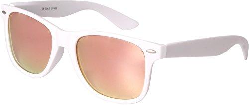 Balinco Hochwertige Nerd Sonnenbrille matte Rubber Retro Vintage Unisex Brille mit Federscharnier - 101 verschiedene Farben/Modelle wählbar (Weiß - Pink)