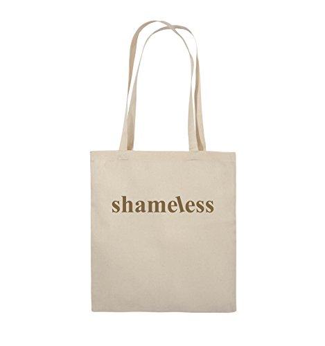 Comedy Bags - shameless - LOGO - Jutebeutel - lange Henkel - 38x42cm - Farbe: Schwarz / Silber Natural / Hellbraun
