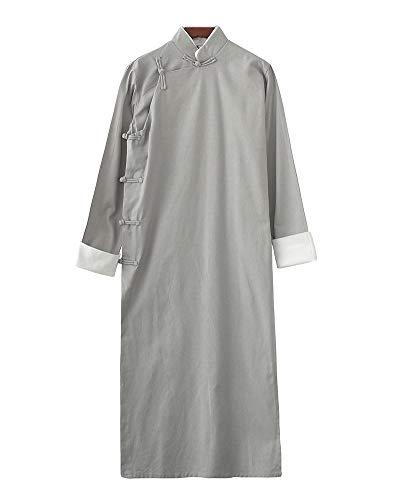 PengGengA Herren Mantel Jacke Tang-Anzug Chinesisch Traditionell Lange Ärmel Kampfkunst Kung Fu Leinenhemd Blassgrün 2XL -