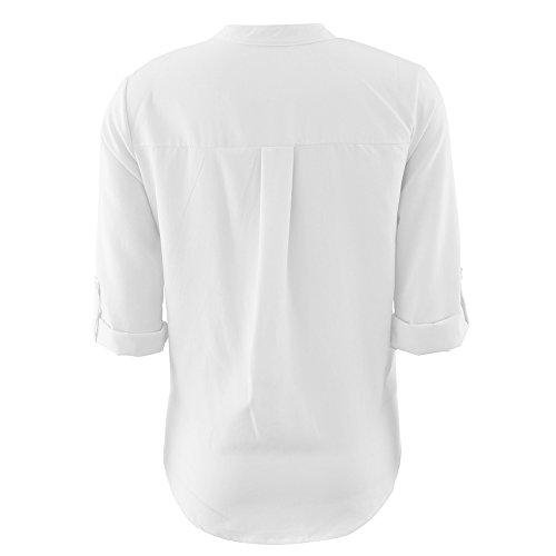 La Cabina T-Shirt Femmes en Col V &T-Shirt à Manches Courtes Loose Tops Chemisier Blanc