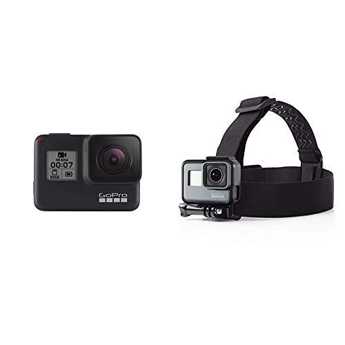 GoPro HERO7 Schwarz - wasserdichte Digitale Actionkamera mit Touchscreen, 4K-HD-Videos, 12-MP-Fotos, Livestreaming, Stabilisierung & AmazonBasics Kopfgurt für GoPro Actionkamera