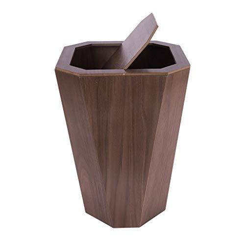 YAYA Im Freien Holz Mülleimer Rechteck Papierkorb Müll Rechteck Edelstahl Mülleimer Papierkörbe Tretauto 6.5Gallon Shake Müllcontainer (Color : Dark Brown)