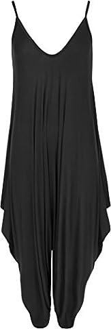 WearAll - Femmes Lagenlook Lacets Bouffant Harem Combinaison Robe Haut Salopette - Noir - 52-54