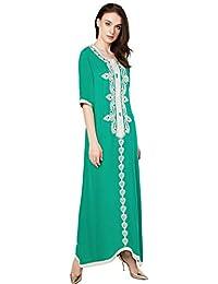 musulmano caftano dubai lungo con ricamo per donne abiti islamici rayon  abito jalabiyas abaya c342a05672d