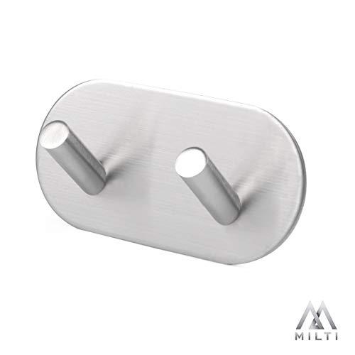 Milti Design Handtuchhaken aus gebürstetem Edelstahl 304 - Handtuchhalter zum kleben mit hochwertigem 3M Kleber - Modernes Accessoire für Ihr Badezimmer oder Küche - Ohne zu bohren -